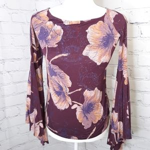 Free People Bird Of Paradise Bell Sleeve Top M